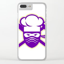 Ninja Chef Crossed Knife Fork Icon Clear iPhone Case