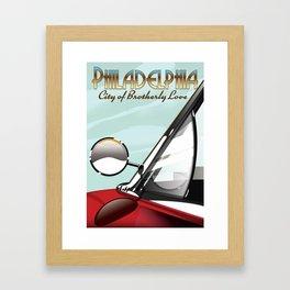 """Philadelphia """"City of Brotherly Love"""" Vintage travel poster Framed Art Print"""