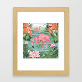 Flamingo and Waterlily Framed Art Print