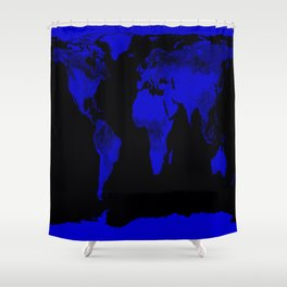 worlD Map Blue & Black Shower Curtain