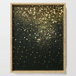 Sparkling Gold Glitter Glam #2 #shiny #decor #art #society6 Serving Tray