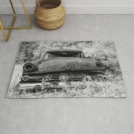 Rusting Station Wagon Infrared Black and White Abandoned Rug