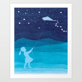 Girl with a kite, blue kids watercolor Art Print