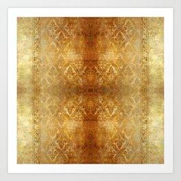 AGED GOLDEN DAMASK  Art Print