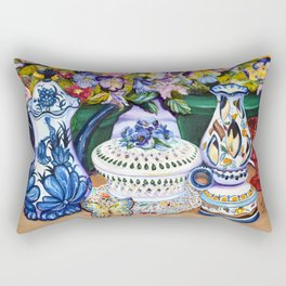 Pansies and Teapot oil Still Life Rectangular Pillow