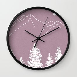 Mountains and Forest at Dusk Wall Clock