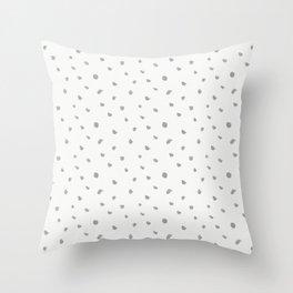 Geometrical gray white watercolor polka dots pattern Throw Pillow