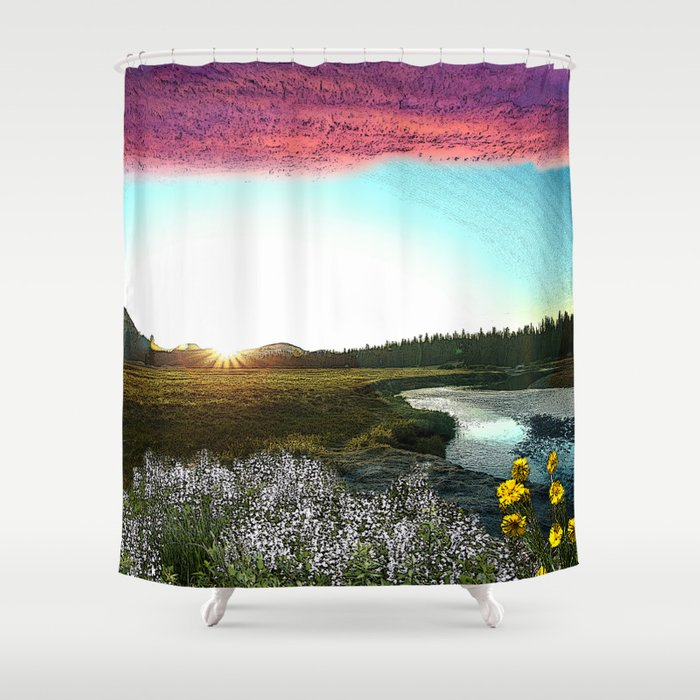 Gloaming over Tuolumne Meadows Shower Curtain