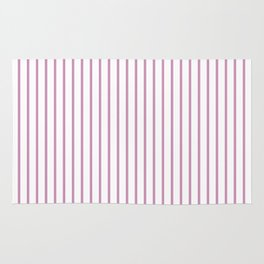 Princess Pink Pinstripe on White Rug