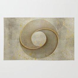 Geometrical Line Art Circle Distressed Gold Rug