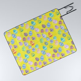 Easter Egg Watercolor Pattern -  Yellow Picnic Blanket