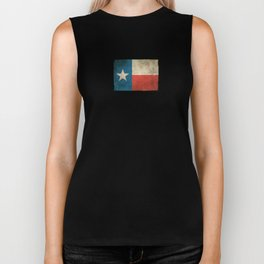 Old and Worn Distressed Vintage Flag of Texas Biker Tank