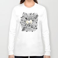 black and gold Long Sleeve T-shirts featuring As If – Black & Gold by Cat Coquillette