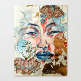 Buddah, lotus and OM Canvas Print