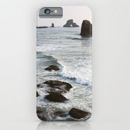 Quiet Waves on the Oregon Coast - Film Photograph iPhone Case
