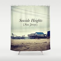 new jersey Shower Curtains featuring Seaside Heights, New Jersey by Ann Yoo