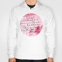 calligraphy Hoodies featuring Trust in Dreams calligraphy by Seven Roses