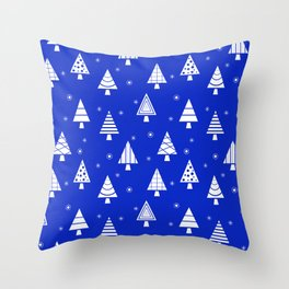 Holiday Christmas Tree Pattern (Blue) Throw Pillow
