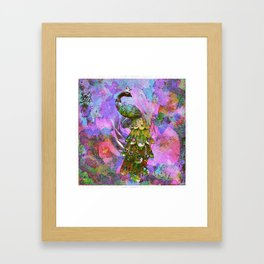 Peacock Watercolor Framed Art Print