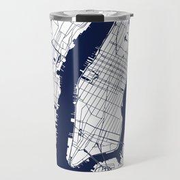 New York City White on Navy Travel Mug