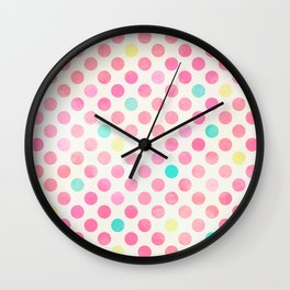Colorful polka dots pattern Wall Clock