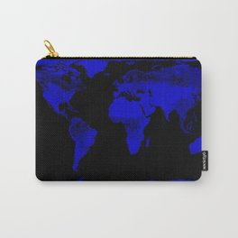 worlD Map Blue & Black Carry-All Pouch