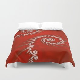 Red and White Striped Swirl - Fractal Art Duvet Cover