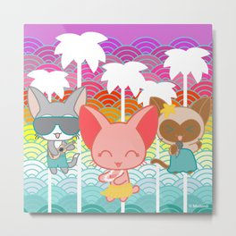 Cats & Palm Trees Metal Print