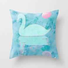 Swan on the lake 2 Throw Pillow