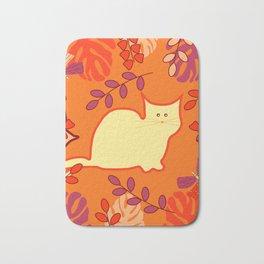Curious cat, butterflies and leaves Bath Mat
