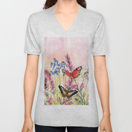 Wild meadow butterflies Unisex V-Neck