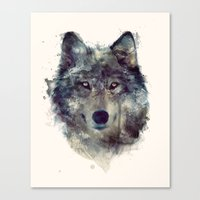 watercolor Canvas Prints featuring Wolf // Persevere  by Amy Hamilton