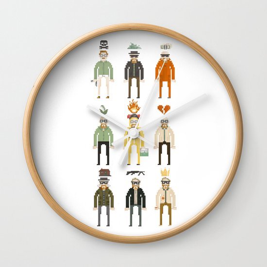 Walter White Pixelart Transformation- Breaking Bad Wall Clock