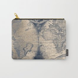 Antique World Map White Gold Navy Blue by Nature Magick Carry-All Pouch