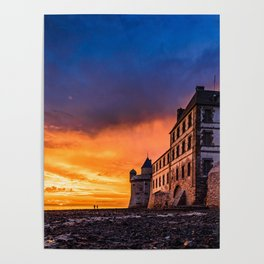 Dramatic sunset at Mont Saint Michel Poster
