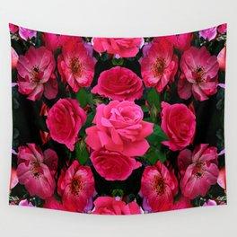 GARDEN ART OF FUCHSIA PINK ROSES Wall Tapestry