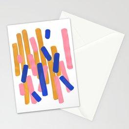 Colorful Minimalist Mid Century Modern Shapes Pink Ultramarine Blue Yellow Ochre Confetti Stationery Cards