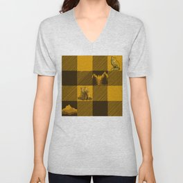 The Fox and The Bear Plaid #1 Yellow Unisex V-Neck