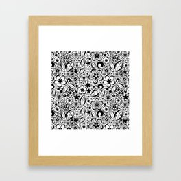 Black lace Framed Art Print