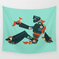 robot Wall Tapestries featuring Foxes & The Robot by Jay Fleck