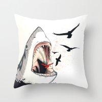 shark Throw Pillows featuring shark by SOF.T