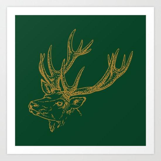 Deer Green Gold Art Print