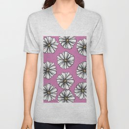Please Don't Eat the Daisies Pink Unisex V-Neck