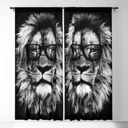 Hipster Lion Black Blackout Curtain