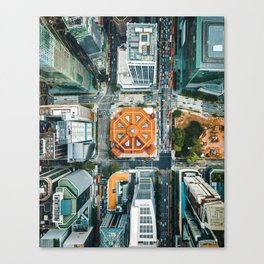 Aerial Cityscape View (Color) Canvas Print