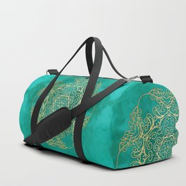Turquoise & Gold Mandala Duffle Bag