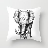 ornate elephant Throw Pillows featuring Ornate elephant by Creadoorm