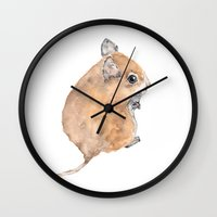 mouse Wall Clocks featuring Mouse by Lindsay Guiher