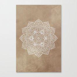 Mandala Brown Beige Creamy Pattern Canvas Print