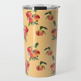 Peaches, Apricots on Yellow Background Travel Mug